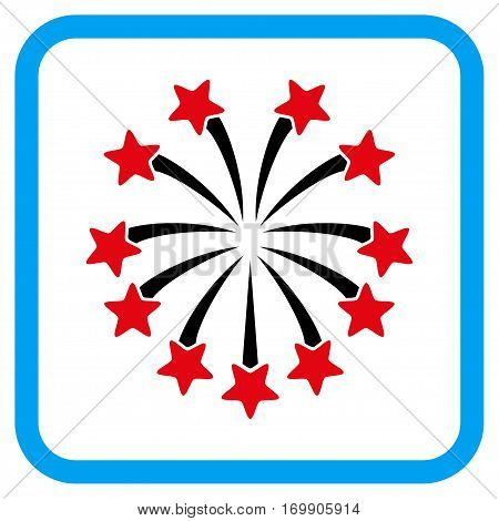 Spherical Fireworks vector icon. Image style is a flat iconic symbol in a rounded square blue frame.