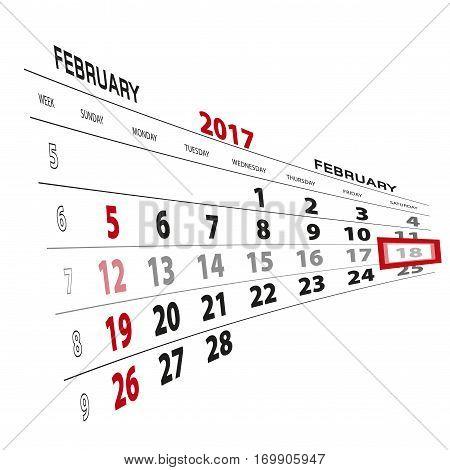 February 18, Highlighted On 2017 Calendar.