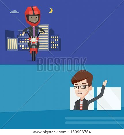Two transportation banners with space for text. Vector flat design. Horizontal layout. Caucasian man enjoying his trip by bus. Man waving from bus. Passenger peeking out of bus window and waving hand.