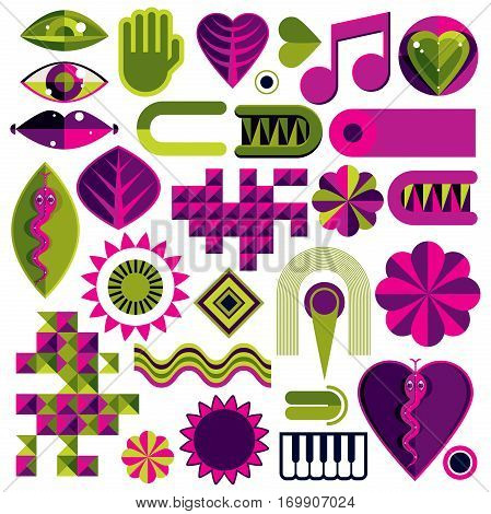 Set Of Vector Abstract Art Symbols, Different Modern Style Graphic Elements Collection Like Odd Crea