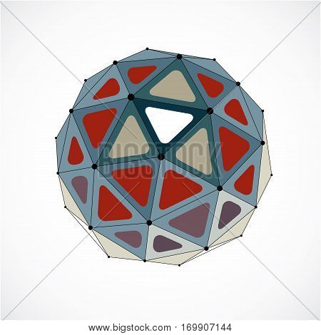 Abstract 3d faceted figure with connected black lines and dots. Colorful vector low poly design element cybernetic orb shape with grid and lines mesh.