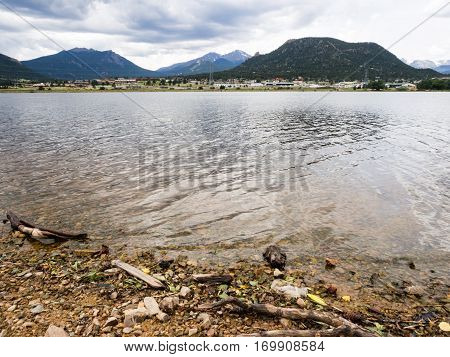 Lake Estes and the town of Estes Park, Colorado