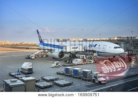 TOKYO, JAPAN - NOVEMBER 6, 2016: Air Nippon Airways (ANA) plane at Tokyo Haneda Airport, Japan. Haneda is an international airport of Tokyo and primary base of two major domestic airlines.