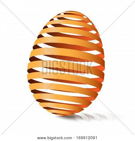 3d egg natural color. Modular eggshell spaced. Happy Easter day. East tradicional gift for good luck. Stylized farm products.
