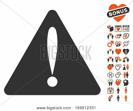 Warning Error pictograph with bonus amour icon set. Vector illustration style is flat iconic elements for web design app user interfaces.