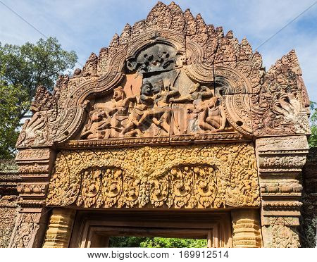 The stone carving gateway of Banteay Srei or Banteay Srey Hindu Temple in Siem Reap Cambodia