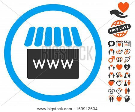 Webstore icon with bonus dating clip art. Vector illustration style is flat iconic elements for web design app user interfaces.
