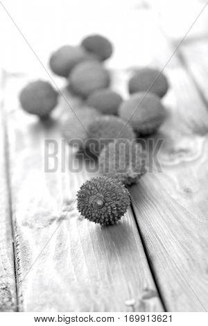 Lichee on wooden table - studio shot