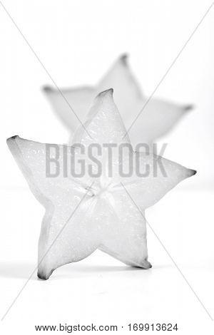 Carambola on white background - slices