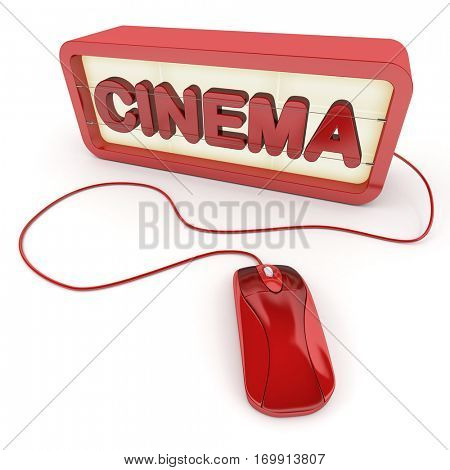 3D rendering Box with letters forming the word cinema connected to a computer mouse