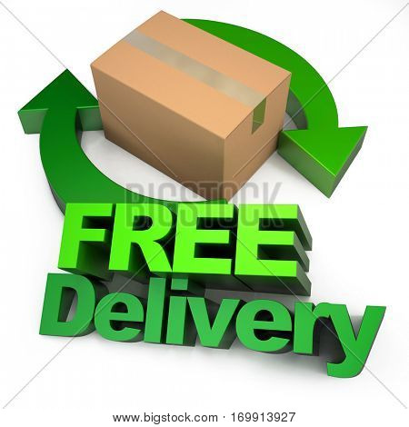 3D rendering Free delivery sign with arrows and a cardboard box, rendering