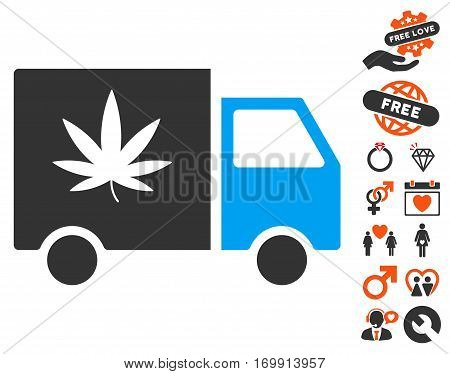 Cannabis Delivery Van pictograph with bonus decorative clip art. Vector illustration style is flat iconic elements for web design app user interfaces.