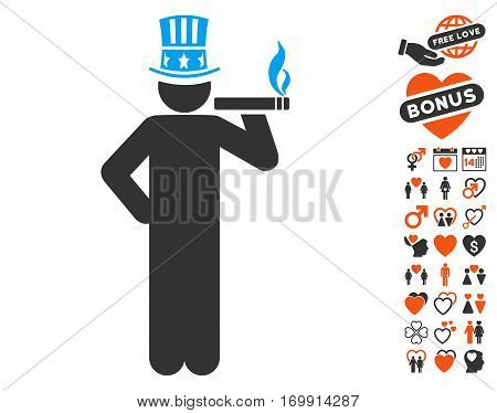 Capitalist pictograph with bonus passion graphic icons. Vector illustration style is flat iconic elements for web design app user interfaces.