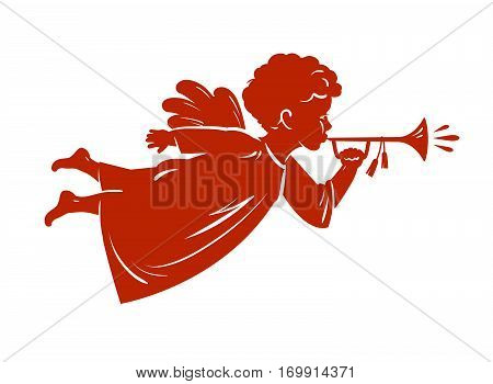 Silhouette Christmas Angel blowing a trumpet. Cherub, Heavenly messenger symbol