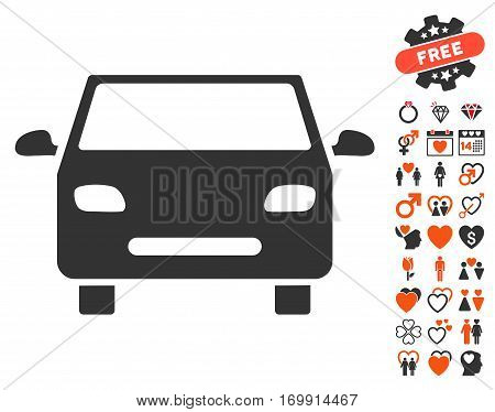 Car pictograph with bonus love clip art. Vector illustration style is flat iconic symbols for web design app user interfaces.