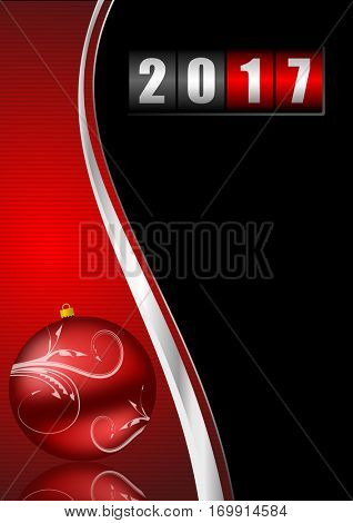 Modern design 2017 counter happy new year background with christmas ball