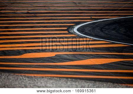VALENCIA, SPAIN - NOV 13: Track detail during Motogp Grand Prix of the Comunidad Valencia on November 13, 2016 in Valencia, Spain.