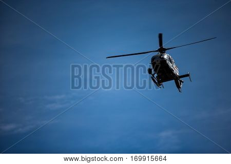 VALENCIA, SPAIN - NOV 12: Giroscope helicopter camera during Motogp Grand Prix of the Comunidad Valencia on November 12, 2016 in Valencia, Spain.
