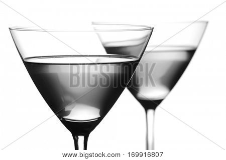 Close up of drinks in martini glasses