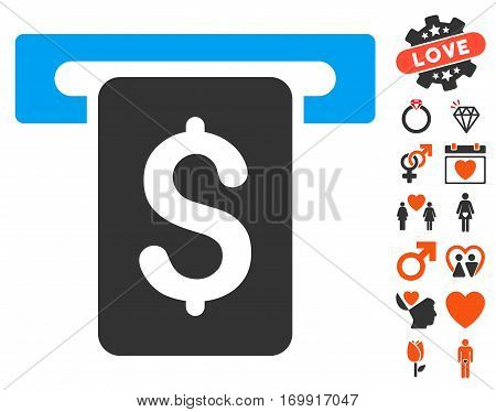 Cash Withdraw pictograph with bonus love clip art. Vector illustration style is flat iconic elements for web design app user interfaces.