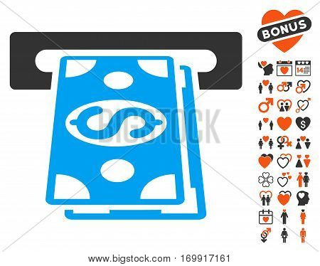 Cash Withdraw pictograph with bonus marriage graphic icons. Vector illustration style is flat iconic elements for web design app user interfaces.