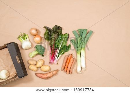 Small Collection Of Fresh Vegetables With Copy Space