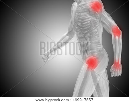 Conceptual 3D illustration human man anatomy or health design, joint articular pain, ache or injury on gray background for medical, fitness, medicine, bone, care, hurt, osteoporosis, arthritis or body