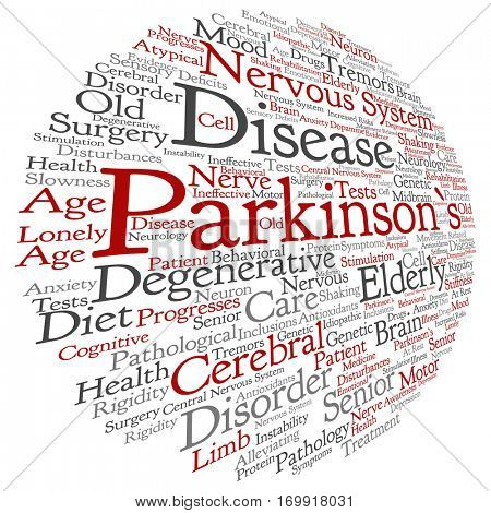 Concept conceptual Parkinson`s disease healthcare or nervous system disorder abstract word cloud isolated on background,metaphor to healthcare, illness, degenerative, genetic, symptom or brain