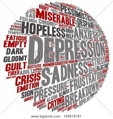 Concept conceptual depression or mental emotional disorder abstract word cloud isolated on background metaphor to anxiety, sadness, negative, sad, problem, despair, unhappy, frustration symptom