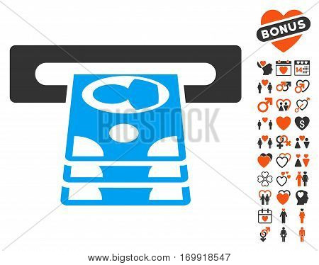 Cashpoint pictograph with bonus lovely clip art. Vector illustration style is flat iconic elements for web design app user interfaces.