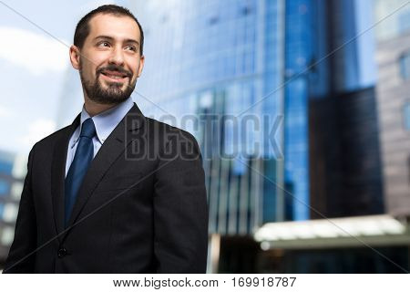 Handsome businessman portrait outdoor