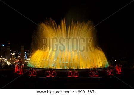 Magic Fountain of Montjuic in Barcelona at night