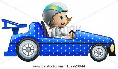 Little girl in polka dot racing car illustration