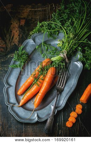 Plate With Fresh Carrots