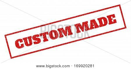 Red rubber seal stamp with Custom Made text. Vector tag inside rectangular banner. Grunge design and unclean texture for watermark labels. Inclined emblem.