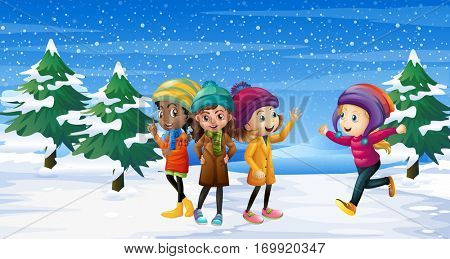 Four kids standing in snow field illustration