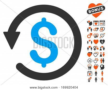 Chargeback pictograph with bonus passion images. Vector illustration style is flat iconic elements for web design app user interfaces.
