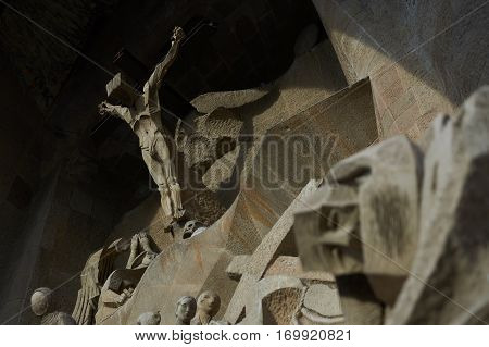 Barcelona, Spain - November 18, 2016: The sculpture of Saint Peter from the composition of
