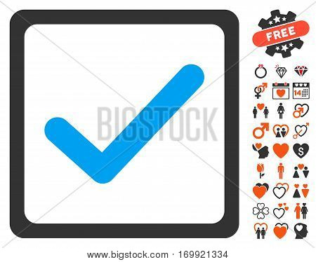 Checkbox pictograph with bonus amour symbols. Vector illustration style is flat iconic elements for web design app user interfaces.