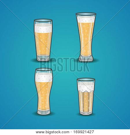 Vector set of stemware with beer. Illustration of beer glass