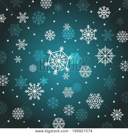 Winter background with snowflakes. Different vector snowflakes vector background