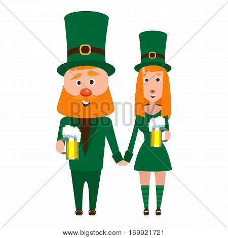 Saint Patrick with a girl. Cartoon character. A man with a red beard and a woman with red hair in an emerald suit. Cheerful young people with a mug of foamy beer.