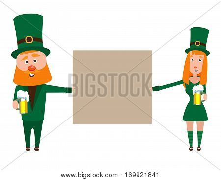 Saint Patrick with a girl. Cartoon character. A man with a red beard and a woman with red hair in an emerald suit. Cheerful young people with a mug of foamy beer. People presenters banner.