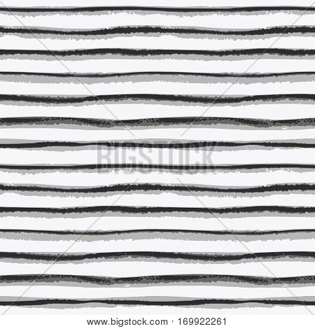 Seamless ink hand drawn stripe texture on white background. Black and white endless pattern.