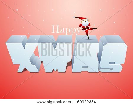 Creative 3D Text Xmas on shiny background, Elegant Poster, Banner or Flyer for Merry Christmas celebration.