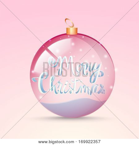 3D Text Merry Christmas in glossy transparent ball, Can be used as Poster, Banner or Flyer design.