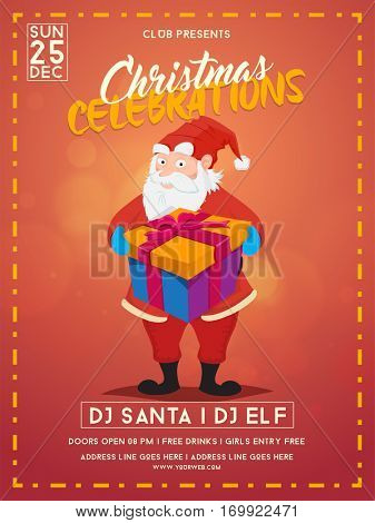 Christmas Party celebrations Template, Banner, Flyer or Invitation Card design. Illustration of Santa Claus holding big gift box.