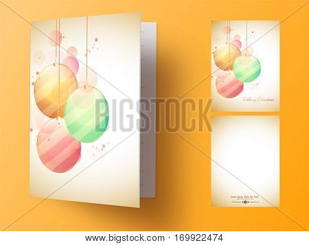 Colorful Xmas Balls decorated greeting card design with front and back page view for Merry Christmas celebration.