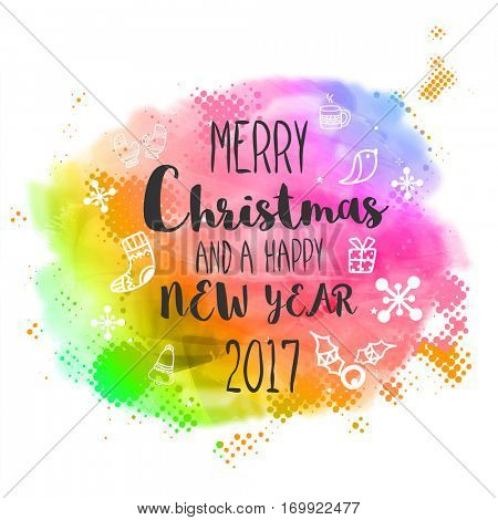 Merry Christmas and Happy New Year 2017 Party celebrations concept, Colorful Poster, Banner or Flyer design with xmas ornaments.