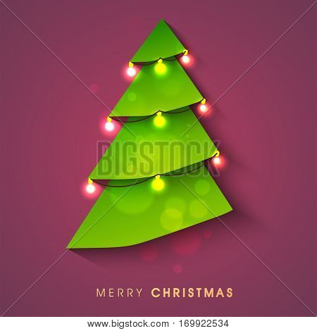 Creative Xmas Tree decorated with illuminated lights, Merry Christmas celebration Poster, Banner or Flyer design.